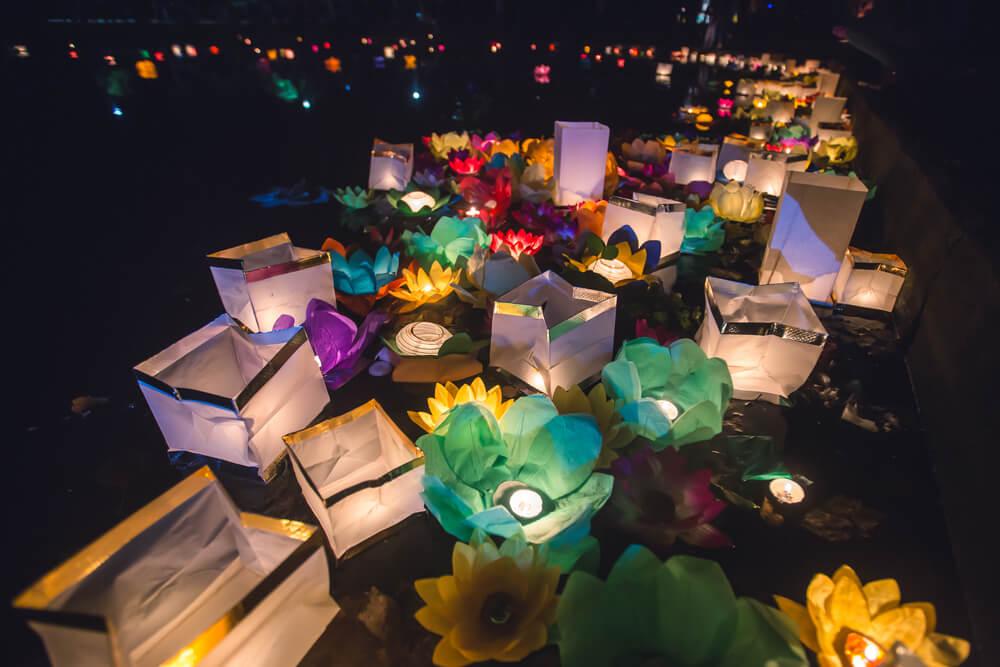 Japanese style floating lanterns