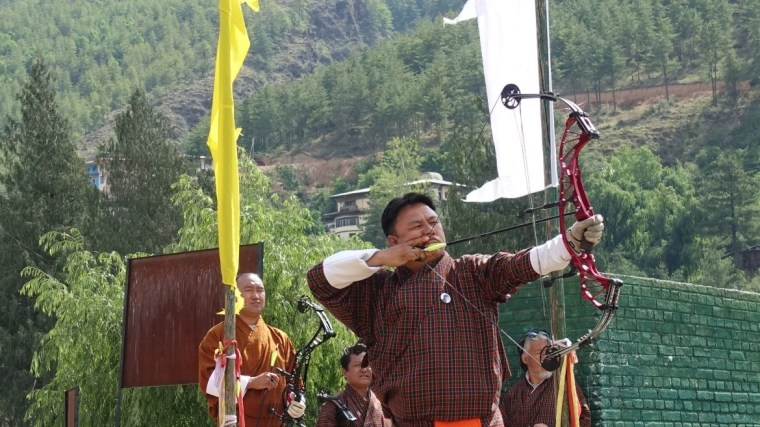 An archer sets his sights playing Bhutan's national sport