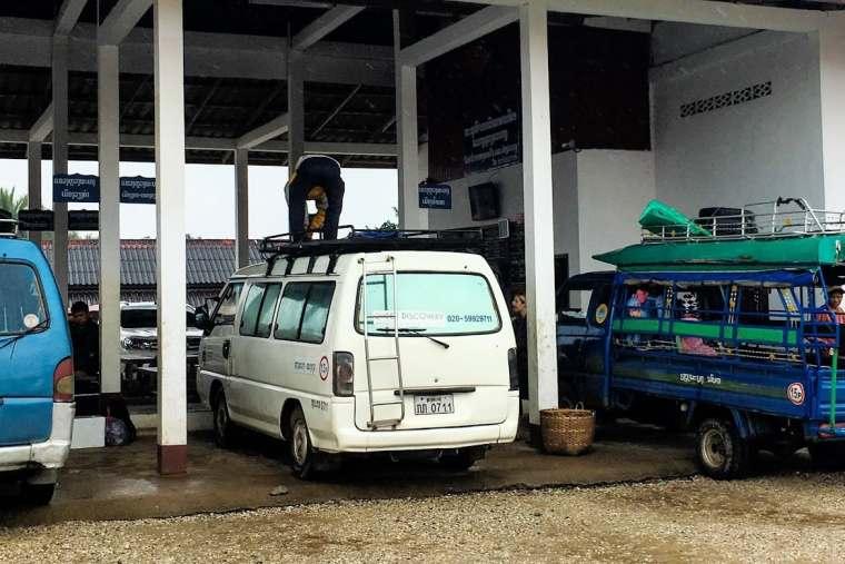 minibus at Luang Prabang station for Nong Khiaw Laos