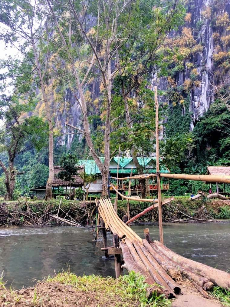 bamboo bridge to tham pha thak in Nong Khiaw