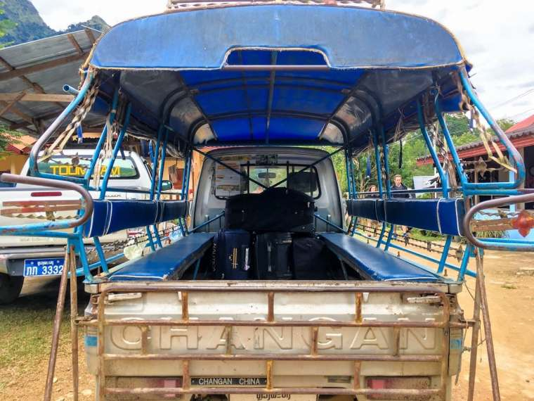 songtaew in Laos