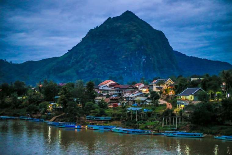 nightfall in Nong Khiaw Laos