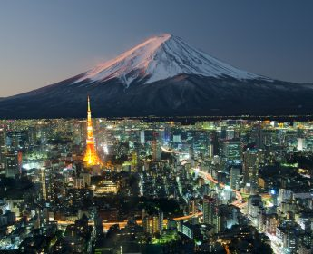 Aerial view of Tokyo and Mount Fuji helicopter tour